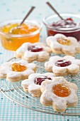 Flower-shaped jam cookies