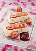 Strawberry and rose ice cream logs