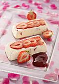 Strawberry and rose ice cream logs