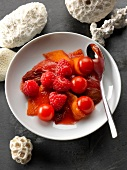 Stewed tomatoes with raspberries and tonka beans