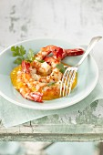 Sauteed shrimps with mango juice