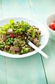 Lamb with peas,eggplants and mint