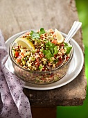 Quinoa, cucumber, tomato, red onion, lemon and parsley tabbouleh