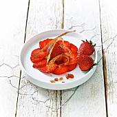 Strawberry carpaccio and caramel