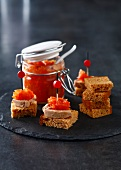 Gingerbread, foie gras and tomato chutney appetizers