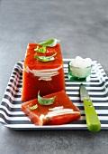 Tomato and mozzarella aspic terrine