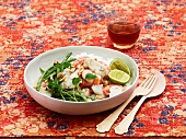 Rice and seafood Indian-style salad
