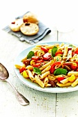 Penne with tomatoes and basil