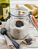 Black truffle in a jar of rice for risotto