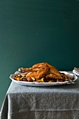 Capon with chanterelles and chestnuts