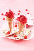 Strawberry Tagada candy ice cream cones