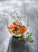 Diced vegetables with smoked salmon and light mayonnaise