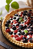 Summer fruit and round rice-buttermilk cream tart