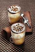 Iced milk coffee with coffee syrup and walnuts