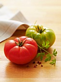 Green tomato and red tomato