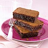 Slices of chocolate fondant