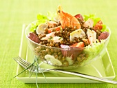 Lentil, mushroom and shrimp salad