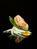 Salmon a la plancha with fennel and sugar peas on a black background