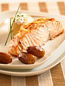 Salmon with shallots,dates and a baked potato
