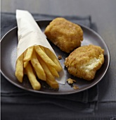 Breaded fish and Fromage frais with french fries