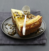 Cheesecake with passionfruit coulis