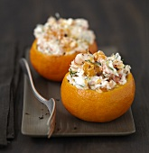 Clementines stuffed with shrimps and Fromage frais