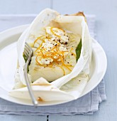 Cod with Fromage frais and orange cooked in wax paper