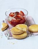 Ginger shortbread cookies with strawberry fruit salad