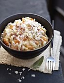 Risotto with parmesan,diced bacon and pumpkin