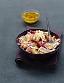 Potato, beetroot, red onion, herring and sheep's milk cheese salad