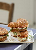 Salmon bagel sandwich