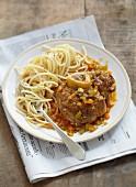 Osso-bucco and spaghettis