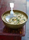 Cream of orange lentil soup