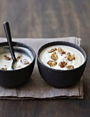 Cream of celeriac soup with chestnuts
