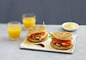 Chicken and Cheddar crumpet burgers