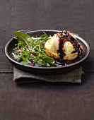 Crottin goat's cheese on toast with chocolate and balsamic vinaigar