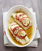 Oven-baked halibut with tomatoes and mozzarella