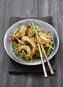 Sugar peas and citronella-flavored Dublin Bay prawn wok