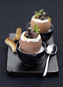 Soft-boiled eggs with Dublin Bay prawns and truffles