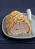 Stuffed salmon in pastry crust
