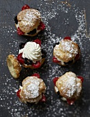 Summer fruit and whipped cream puffs