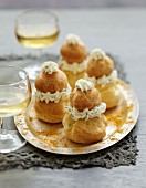 Fromage frais with herbs and crab meat savoury mini Religieuses