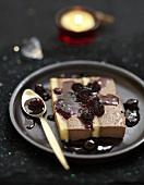 Slice of chocolate and cherry terrine
