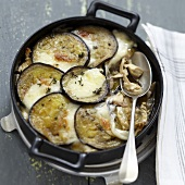 Eggplant,chicken,onion and mozzarella gratin