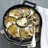 Auberginengratin mit Hähnchen und Austernpilzen