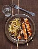 Yakitori chicken brochettes with caramelized chicory