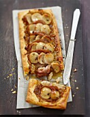 White sausage, Guéméné chitterlings sausage, onion and caramel savoury tart