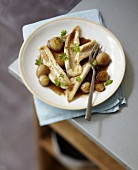 Braised sole fillets and spring onions sauteed with vinaigar