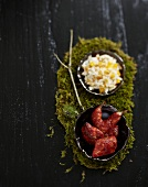 Tandoori quail with sauteed rice and mango
