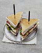 Farmhouse paté and confit tomato club sandwiches